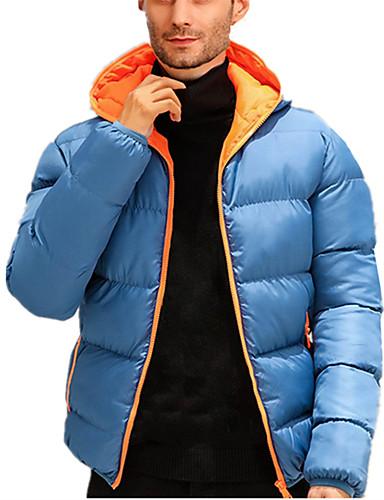 billige Vinterfrakker-Herre Ensfarget Normal Polstret, POLY / Polyester og bomullsblanding Oransje / Blå / Rød US32 / UK32 / EU40 / US34 / UK34 / EU42 / US36 / UK36 / EU44
