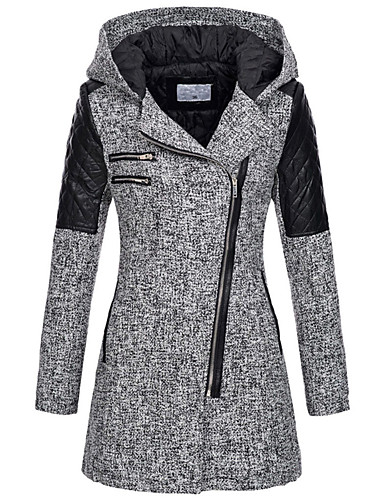 cheap Women's Outerwear-Women's Color Block Long Parka, POLY Wine / Light gray / Dark Gray S / M / L