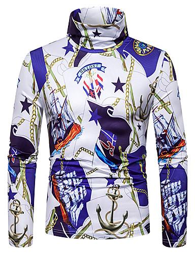 voordelige Heren T-shirts & tanktops-Heren Standaard / Street chic Patchwork / Print T-shirt Kleurenblok / 3D Paars