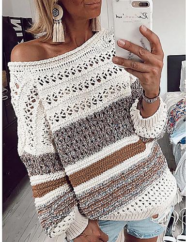 billige Mønstrede gensere-Dame Stripet Langermet Pullover Genserjumper, Rund hals Svart / Lilla / Gul S / M / L