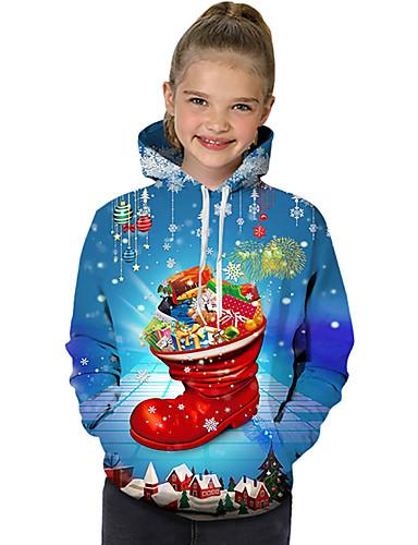 Gyerekek Kisgyermek Lány Aktív Alap Mikulás Hóember Mértani Galaxis Színes Nyomtatott Hosszú ujj Kapucnis felső és melegítő Medence