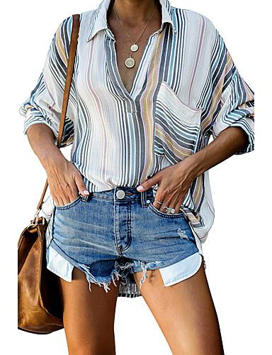 billige Skjorter til damer-Skjorte Dame - Stripet, Utskjæring Grunnleggende Hvit
