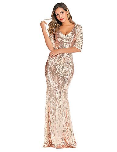 levne Maxi šaty-Dámské Šik ven Elegantní Bodycon Mořská panna Šaty - Jednobarevné, Volná záda Flitry Maxi