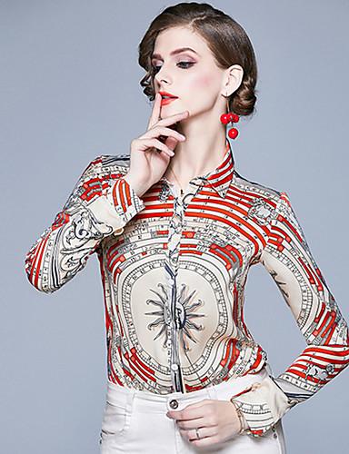 billige Dametopper-Skjorte Dame - Geometrisk, Trykt mønster Vintage Hvit Rød