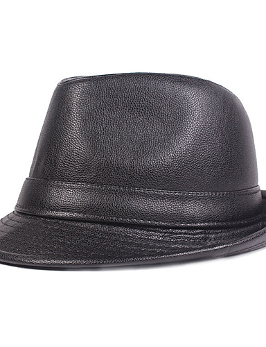 cheap Men's Hats-Men's Basic PU Bucket Hat Fedora Hat-Solid Colored Fall Winter Black Brown