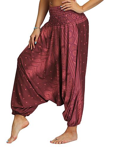 povoljno Vježbanje, fitness i joga-Žene Hlače za jogu Harem hlače 3D ispis purpurna boja Tamno crvena Crno bijela / Kava Cyan Plesne Fitness Trening u teretani ženske sportske hlače Sport Odjeća za rekreaciju Prozračnost Quick dry Puha