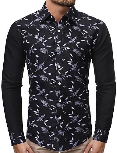levne Pánské košile-Pánské - Barevné bloky Čínské vzory Košile, Tisk Černá a šedá Černá