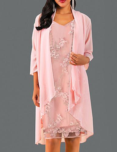 preiswerte Modische Kleider-Damen Elegant A-Linie Kleid Solide Knielang V-Ausschnitt