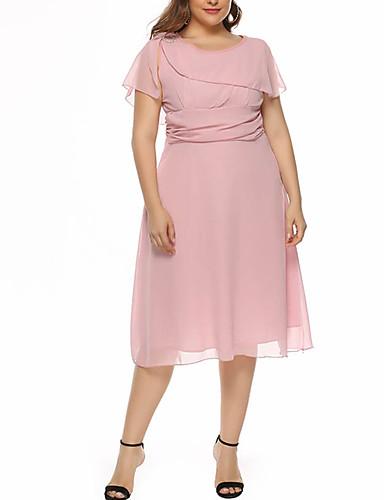 voordelige Grote maten jurken-Dames Standaard Schede Jurk - Effen Tot de knie