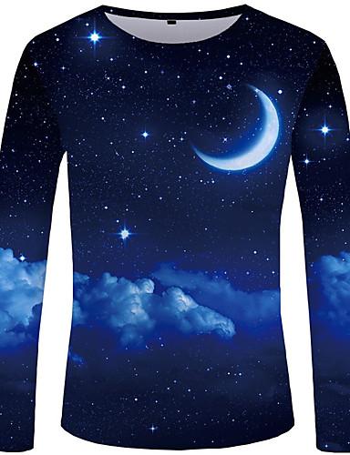 voordelige Heren T-shirts & tanktops-Heren Street chic / overdreven T-shirt Effen / Heelal / Kleurenblok blauw