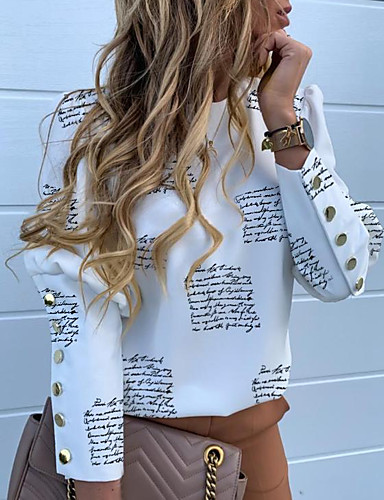 billige Dametopper-Skjorte Dame - Geometrisk, Trykt mønster Gatemote Hvit