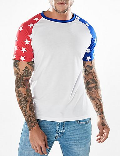 voordelige Heren T-shirts & tanktops-Heren T-shirt Geometrisch Zwart
