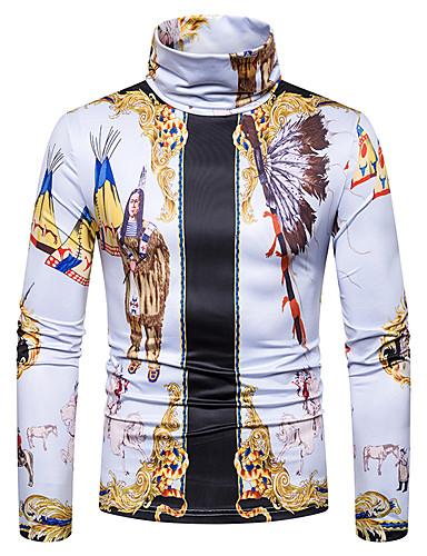 voordelige Heren T-shirts & tanktops-Heren Standaard / Street chic Patchwork / Print T-shirt Kleurenblok / 3D Wit