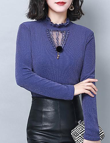 billige Skjorter til damer-Skjorte Dame - Ensfarget, Blonde / Utskjæring / Lapper Elegant Svart