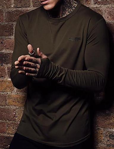 voordelige Heren T-shirts & tanktops-Heren T-shirt Effen Bruin