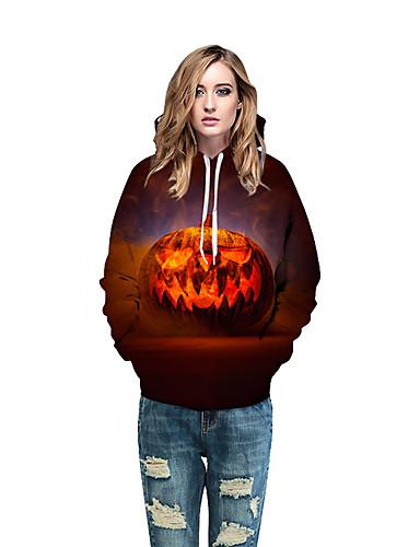 billige Dametopper-Dame Halloween Hattetrøje Trykt mønster / 3D