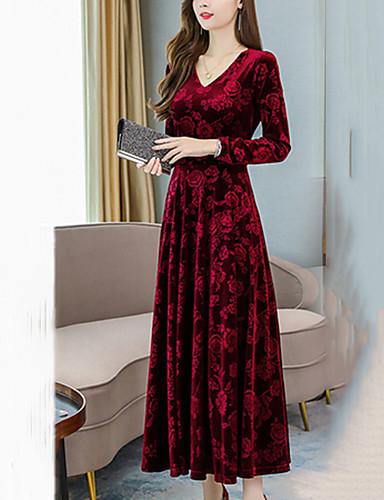 baratos Vestidos Longos-Mulheres Solto Evasê Vestido Sólido Decote V Longo