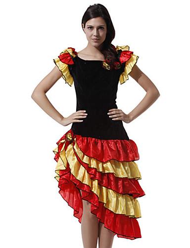 cheap Dancing Costumes-Women's Spanish Lady Dance Folk Dance Dress Ethnic Style Polyester Black Dress
