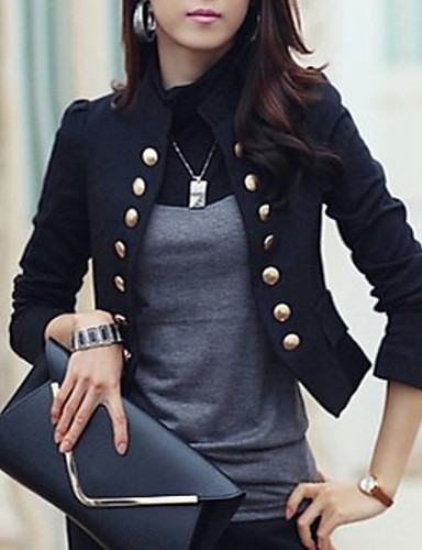 cheap Women's Blazers & Jackets-Women's Blazer, Solid Colored Stand Polyester White / Black