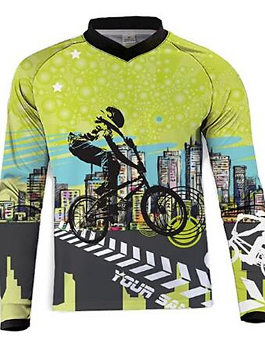 povoljno Odjeća za vožnju biciklom-21Grams Muškarci Dugih rukava Biciklistička majica Dirt Bike Jersey Zelena / crna Bicikl Biciklistička majica Majice Brdski biciklizam biciklom na cesti UV otporan Prozračnost Quick dry Sportski 100