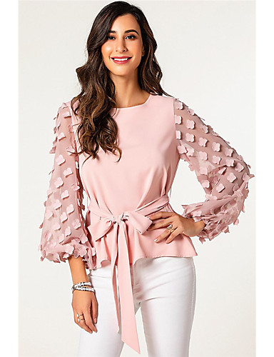 billige Dametopper-Bluse Dame - Ensfarget, Blondér / Lapper Grunnleggende Rosa