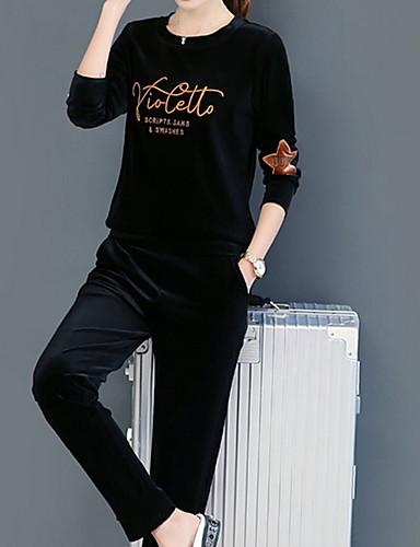 billige Todelt dress til damer-Dame Skjorte Bukse Ensfarget