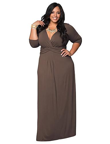 levne Šaty velkých velikostí-Dámské Základní Pouzdro Šaty - Jednobarevné Maxi