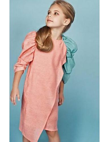 Gyerekek Lány Egyszínű Ruha Arcpír rózsaszín
