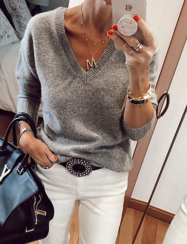 cheap Pre Sale-Women's Solid Colored Long Sleeve Pullover Sweater Jumper, V Neck Gray M / L / XL
