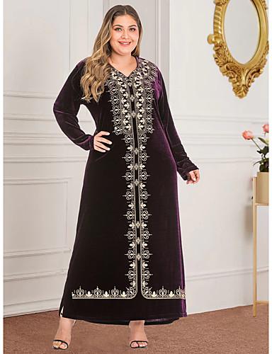 voordelige Grote maten jurken-Dames Vintage Standaard Recht Abaya Jurk - Geometrisch, Split Print Maxi
