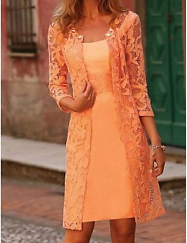 cheap Mother of the Bride Dresses-Two Piece A-Line Mother of the Bride Dress Wrap Included Jewel Neck Knee Length Lace Polyester 3/4 Length Sleeve with Appliques 2020 Mother of the groom dresses