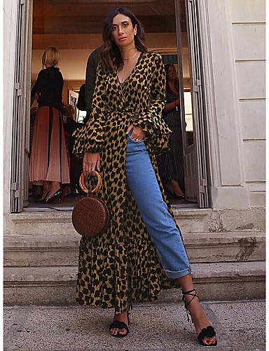 levne Maxi šaty-Dámské Šik ven Swing Šaty - Leopard, Tisk Wrap Maxi