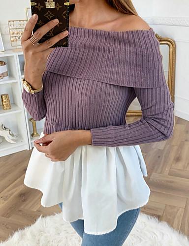billige Dametopper-Bluse Dame - Ensfarget, Lapper Grunnleggende / Gatemote Lyseblå