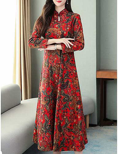 levne Maxi šaty-Dámské Vintage Čínské vzory A Line Šaty - Květinový Geometrický, Tisk Midi