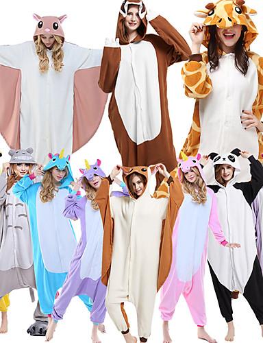 preiswerte Von Bloggern gestaltet-Erwachsene Kigurumi-Pyjamas Giraffe Tier Pyjamas-Einteiler Polar-Fleece Maroon / Braun / Schwarz / Weiß Cosplay Für Herren und Damen Tiernachtwäsche Karikatur Fest / Feiertage Kostüme