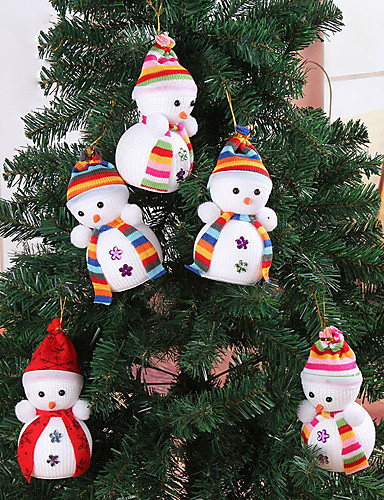 billige Julehengende dekorasjon-4stk jul snøheng hengende dukke eksklusiv for hjem juletre dekorasjoner barnas gave ørsmå leketøy tilfeldig farge
