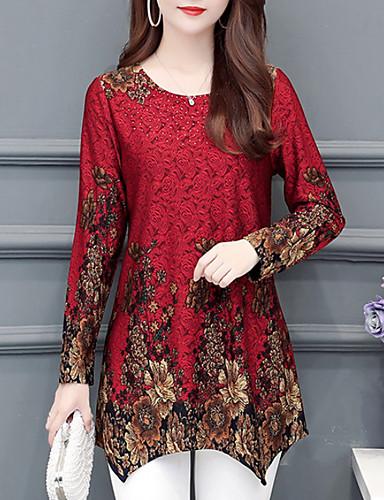 billige T-skjorter til damer-T-skjorte Dame - Blomstret, Trykt mønster Grunnleggende Blå
