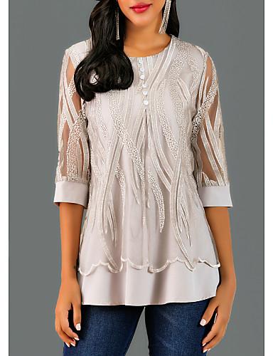 billige T-skjorter til damer-Bluse Dame - Geometrisk Blonde Grå / Vår / Høst