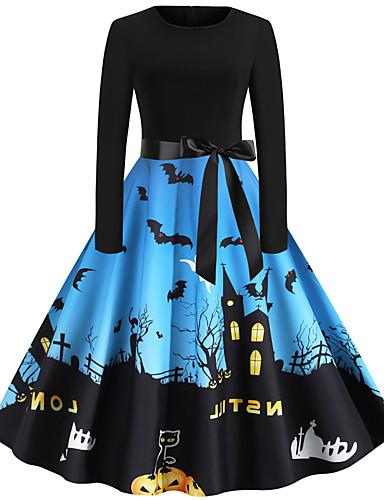 povoljno Maske i kostimi-Audrey Hepburn Haljine Odrasli Žene Retro / vintage Halloween Halloween Festival / Praznik Poliester purpurna boja / žuta / Plava Žene Karneval kostime / Haljina