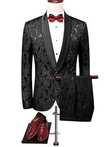 levne Pánské módní oblečení-Pánské Obleky, Květinový Do V Polyester Černá