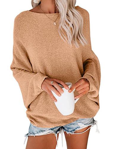 billige Dametopper-Dame Ensfarget Langermet Løstsittende Pullover Genserjumper, Rund hals Vinter Svart / Lysebrun / Grå S / M / L