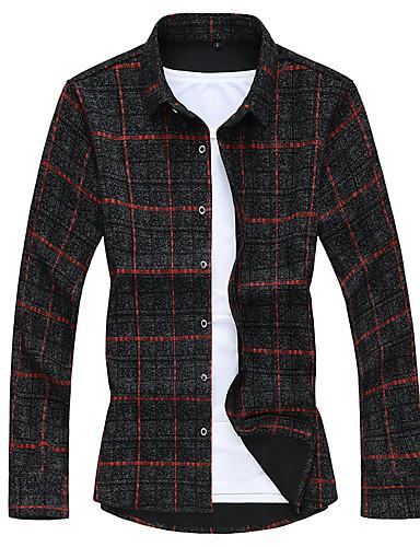 voordelige Herenoverhemden-Heren Zakelijk Overhemd Ruitjes Rood