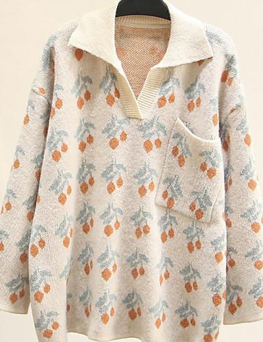 billige Dametopper-Dame Geometrisk Langermet Pullover Genserjumper, Skjortekrage Blå / Kakifarget En Størrelse
