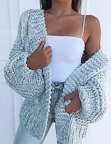 cheap Women's Sweaters-Women's Solid Colored Long Sleeve Cardigan Sweater Jumper, V Neck Black / Light Blue / Blushing Pink S / M / L