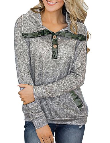 billige T-skjorter til damer-T-skjorte Dame - Fargeblokk / Ruter Mørkegrå