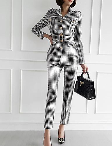 billige Todelt dress til damer-Dame Grunnleggende Blazer Bukse Rutet