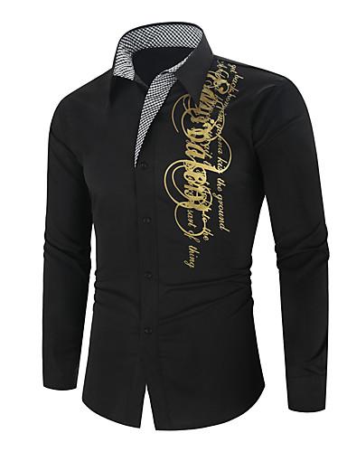 levne Pánské košile-Pánské - Geometrický Základní Košile Černá