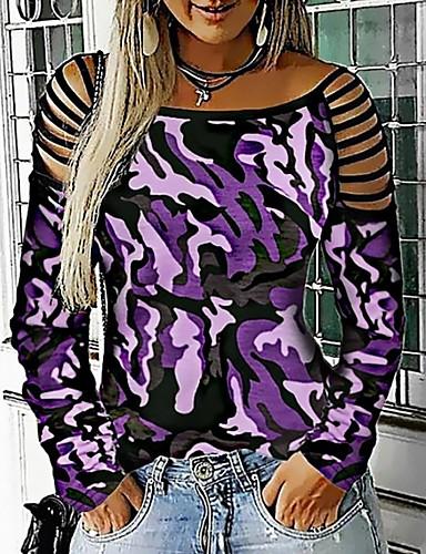 billige Dametopper-T-skjorte Dame - Leopard Lilla