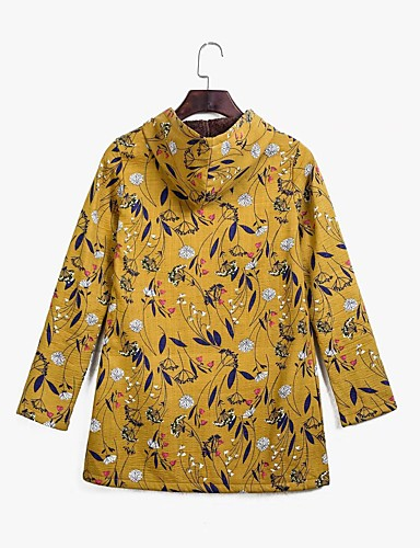 voordelige Dames donsjassen & parka's-Dames Bloemen Normaal Parka, Polyester Geel / blauw / Klaver S / M / L