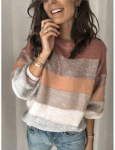 preiswerte ChristmasJumpers-Damen Gestreift Langarm Pullover Pullover Jumper, Rundhalsausschnitt Rosa S / M / L